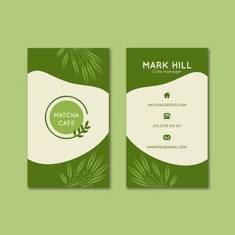 Modelo de cartões de visita verticais de chá matcha
