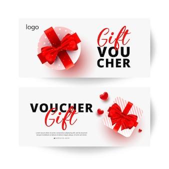 Modelo de cartões de voucher de promoção e compras