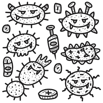 Modelo de cartoon virus doodle