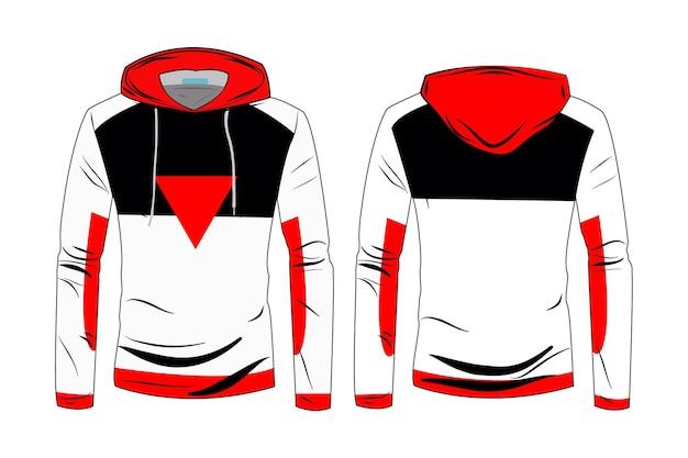 Modelo de casaco de jaqueta de capuz. moletom roupa casual com algodão e manga comprida para caminhada esportiva. moletom com capuz e esboço técnico de moda com vista frontal e traseira da trilha.