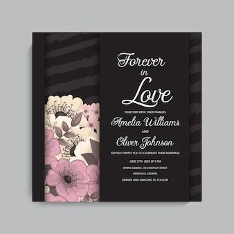 Modelo de casamento floral - cartão floral rosa