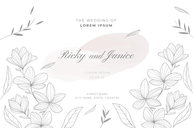Modelo de casamento floral desenhado à mão