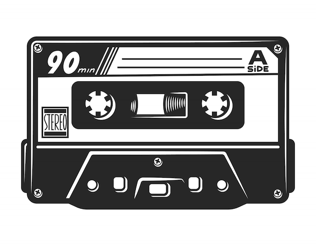 Modelo de cassete de áudio monocromático vintage