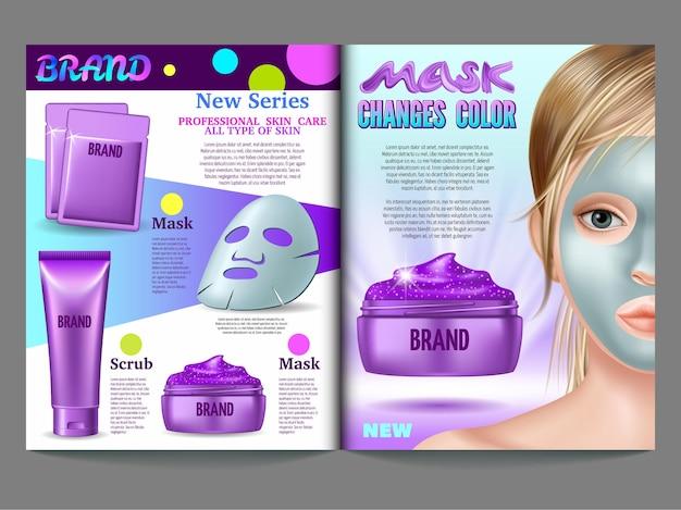 Modelo de catálogo de produtos com conceito de cuidados com a pele. máscara roxa, esfrega muda de cor para prateado.