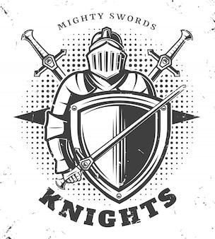 Modelo de cavaleiros monocromáticos vintage