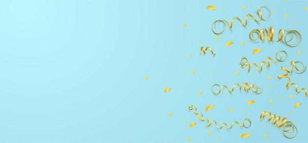 Modelo de celebração de vetor com serpentina, confete e fita de carnaval