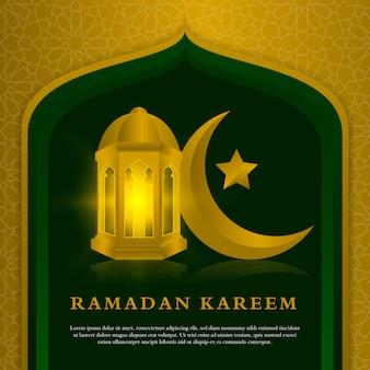 Modelo de celebração ramadan kareem com lanterna