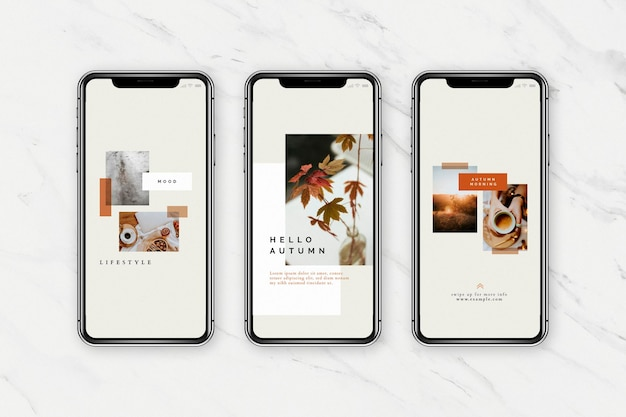 Modelo de celular para blog de mídia social de tom de outono