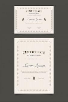 Modelo de certificado abstrato com estilo vintage