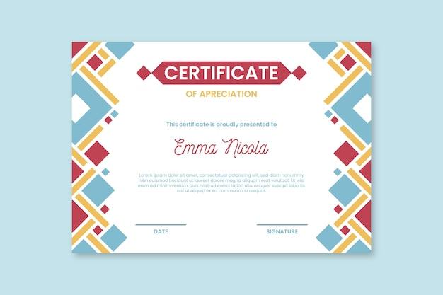 Modelo de certificado abstrato formas coloridas