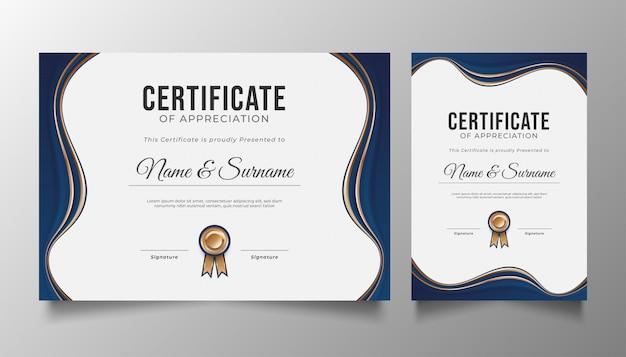 Modelo de certificado azul e dourado com corte de papel ondulado