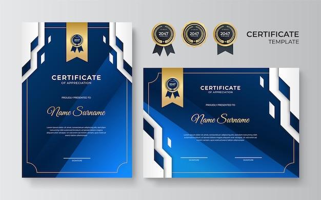 Modelo de certificado azul e dourado. prêmio certificado azul moderno ou conjunto de modelo de diploma de desenho de retrato e paisagem. terno para negócios, educação, prêmio e muito mais