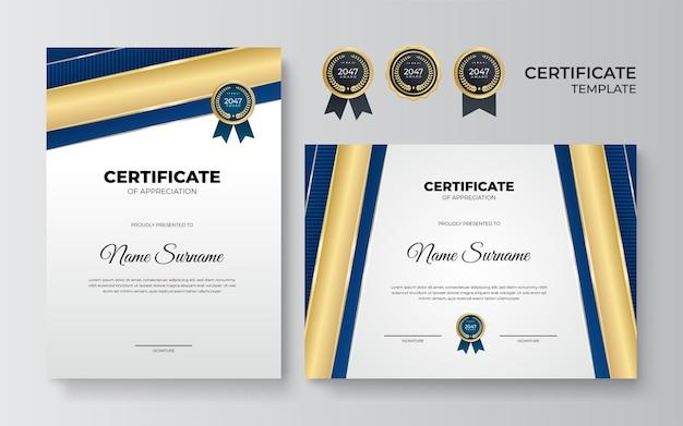 Modelo de certificado azul e dourado. prêmio de certificado azul moderno ou modelo de diploma conjunto de dois, desenho de retrato e paisagem em tamanho a4. terno para negócios, educação, prêmio e muito mais