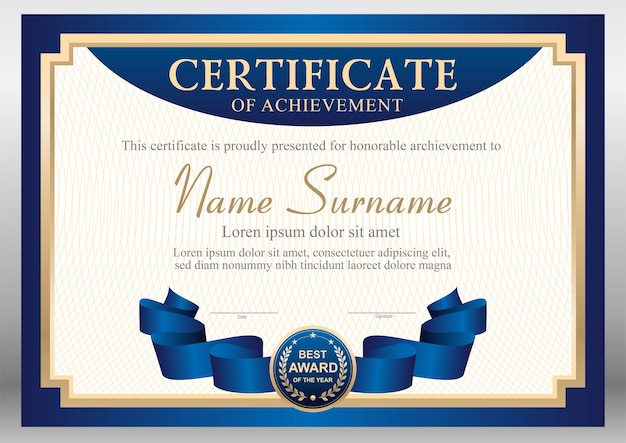 Modelo de certificado azul e dourado