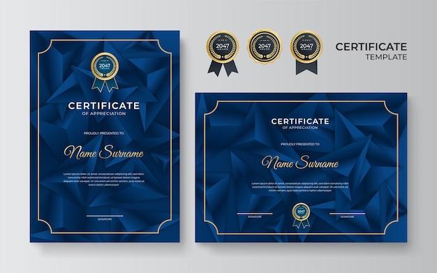 Modelo de certificado azul escuro e dourado. prêmio de certificado azul moderno ou modelo de diploma conjunto de dois, desenho de retrato e paisagem em tamanho a4. terno para negócios, educação, prêmio e muito mais