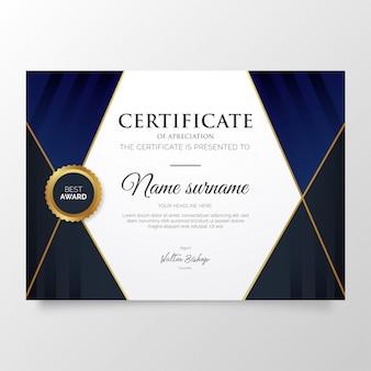 Modelo de certificado azul moderno