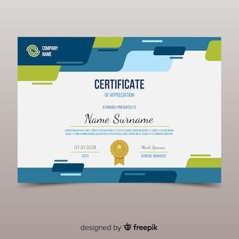 Modelo de certificado colorido com design plano