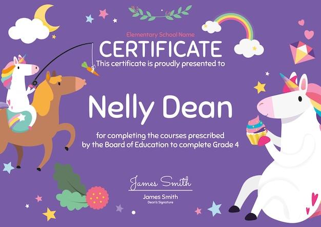 Modelo de certificado colorido fofo em design de unicórnio para crianças