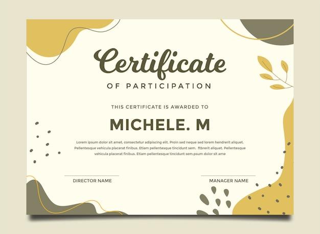 Modelo de certificado colorido pintado de forma abstrata