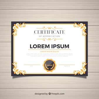 Modelo de certificado com borda ornamental