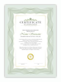 Modelo de certificado com clássico verde