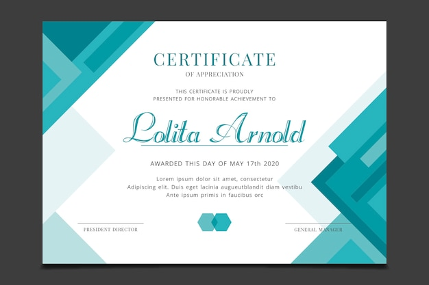 Modelo de certificado com conceito geométrico