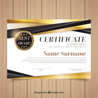 Modelo de certificado com cor dourada