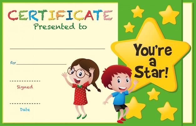Modelo de certificado com crianças e estrelas