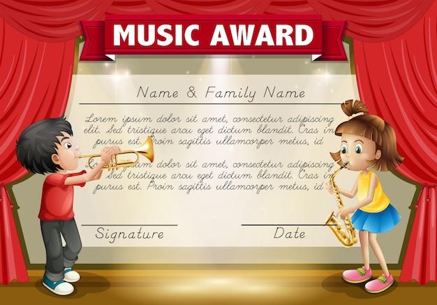 Modelo de certificado com crianças tocando música no palco