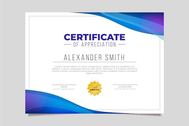 Modelo de certificado com desenho geométrico