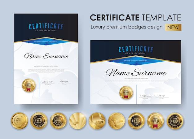 Modelo de certificado com design de emblemas de luxo e premium
