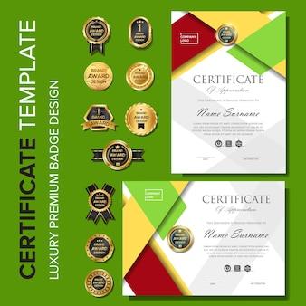 Modelo de certificado com distintivo premium de luxo
