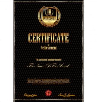 Modelo de certificado com elementos adicionais de design