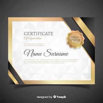 Modelo de certificado com elementos dourados
