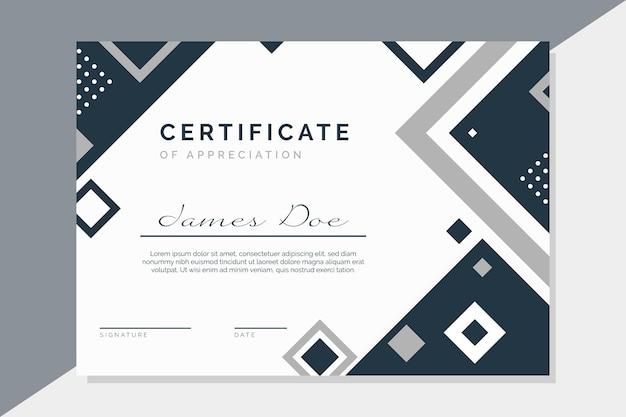 Modelo de certificado com elementos modernos