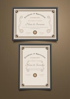 Modelo de certificado com estilo clássico antigo e moldura ornamental