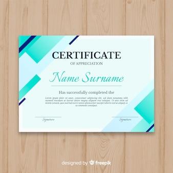 Modelo de certificado com formas abstratas