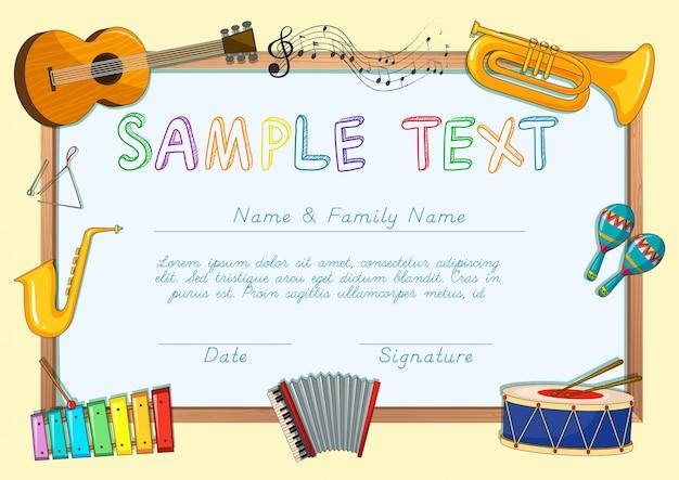 Modelo de certificado com instrumentos musicais