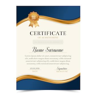 Modelo de certificado com luxo e design moderno