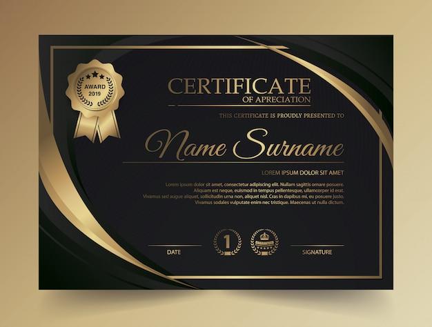Modelo de certificado com luxo e moderno padrão, diploma, ilustração vetorial