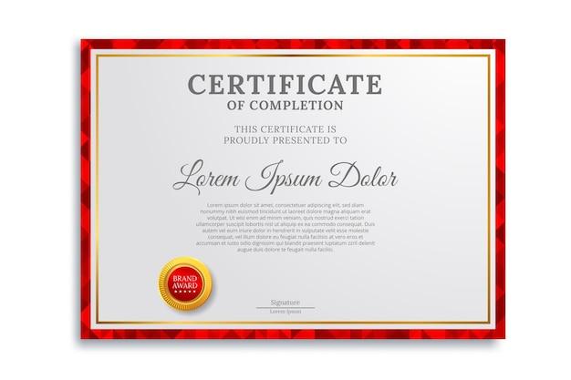 Modelo de certificado com luxo e moderno