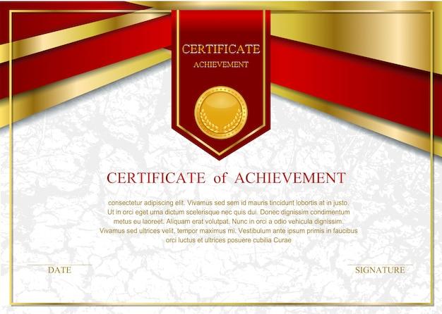 Modelo de certificado com luxo e padrão moderno, diploma,