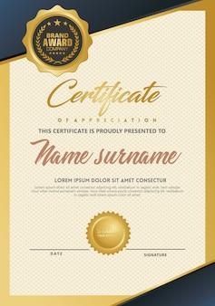 Modelo de certificado com luxo e textura elegante