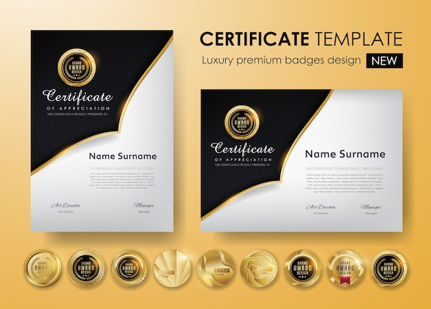 Modelo de certificado com padrão de luxo