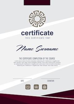 Modelo de certificado com padrão limpo e moderno, modelo de certificado de qualificação em branco com ilustração elegante