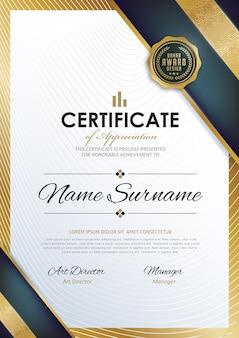 Modelo de certificado com padrão limpo e moderno,