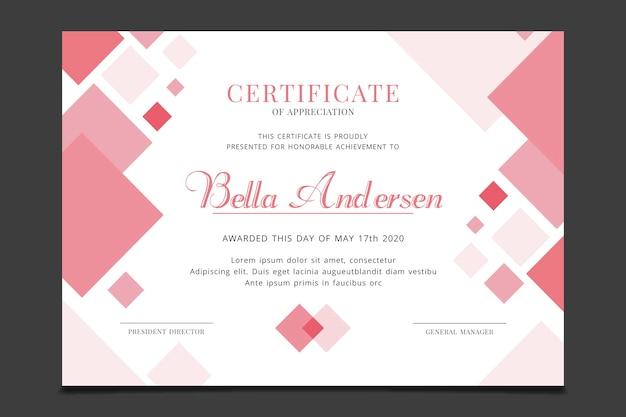 Modelo de certificado com tema geométrico