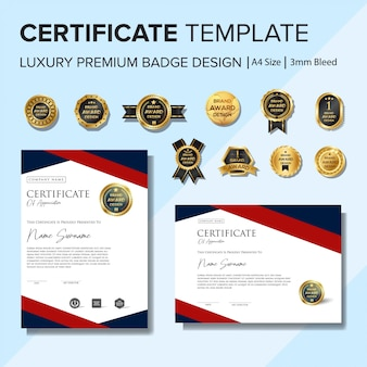 Modelo de certificado criativo com emblemas