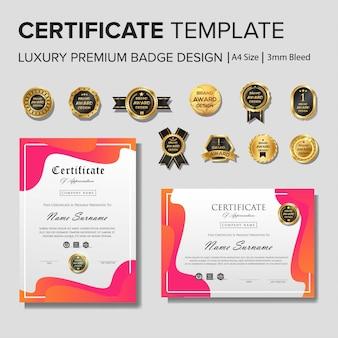Modelo de certificado criativo com luxo e moderno, diploma,