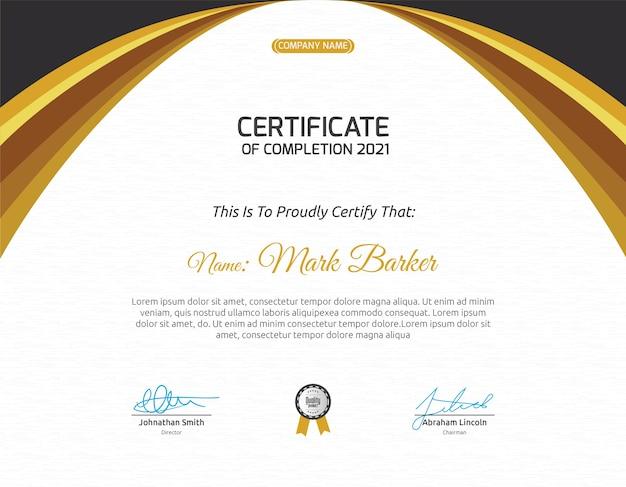 Modelo de certificado curvy gold